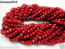 72pcs Opaque Red Faceted Crystal Rondelle Loose Spacer Beads 6mm x 8mm
