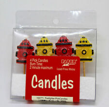 Paper Art Firemen  Fire Hydrant Pick Candles 4-Pick New 6608