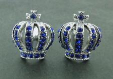 Silvertone & Blue Crystal Crown Cufflinks BEAUTIFUL!!
