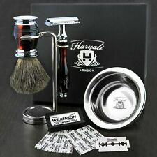 Super Badger Complete Shaving Set Safety Razor & Brush Bowl Stand Men Gift Kit
