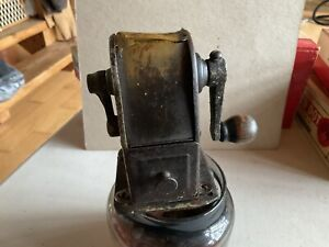 Vintage Stewart Pencil Sharpener Clamp On Tin Shavings Box Primitive Collectible