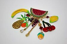 Lunch At The Ritz FRUIT COCKTAIL Pin / Pendant Watermelon Summertime Vintage
