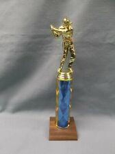 gold male golf trophy blue column solid walnut wood base