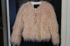 $795 COACH womens pink faux fur coat calf leather belt short crop jacket size XS
