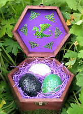 Casket of Three Baby Dragon Eggs With Personalised Certificate