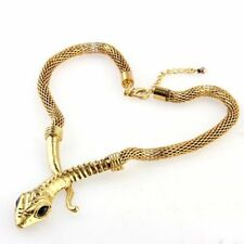 Vintage Antique Brass Metal Snake Punk Lobster Clasp Necklace Chain Chic Q9K9