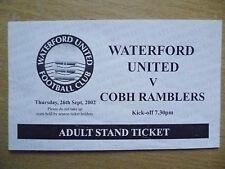 Partido de fútbol billetes: 2002 Waterford United v Cobh Ramblers, 26 Sept