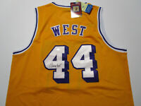 JERRY WEST / NBA HALL OF FAME / AUTOGRAPHED L.A. LAKERS THROWBACK JERSEY / COA