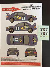 DECALS 1/43 SUBARU IMPREZA WRC COLIN MC RAE RALLYE RAC 1997 RALLY WRC