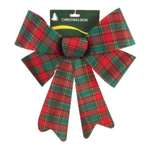 Large Christmas Door Red Green Silver Tartan Bow Festive Decoration Tree Topper