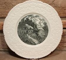 "Royal Cauldon Thames Boat House Black Transferware Dinner Plate 11"" England"