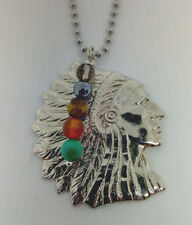 American Indian Chief Necklace With Semiprecious Stone Charm on 80 cm  chain.