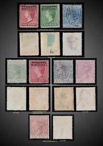 1876 1880 1884 -1885 MONTSERRAT SMALL LOT QUEEN VICTORIA MINT USED SCT 1-10 ,7