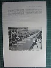 1917 WWI WW1 PRINT ~ PROCESSION AMERICAN NURSES PASSING DOWN BROADWAY RED CROSS
