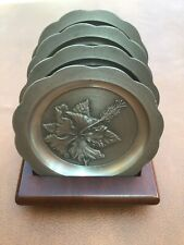 ROYAL SELANGOR PEWTER HIBISCUS FLOWER COASTERS WITH WOODEN PLINTH