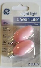 Night Light Bulbs C7 4 watts Candelabra Base Incandescent Bulb Pink 2 pack NIB