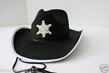 Halloween Party Black Sheriff Cowboy Hat Kids Child Adult Walking Dead Carl G504