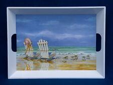 "Charles Keller Kathleen Denis Seaside Beach Chair Ocean Melamine Tray 20"""
