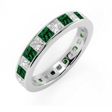 1.50 Carat Green Emerald and Princess Diamond Full Eternity Ring, 18k White Gold