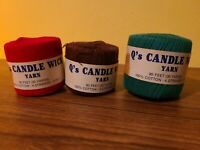 Lot if 3 Vintage Q's Candle Wick Needlepoint Yarn/Thread 3 Ply Red Green Brown