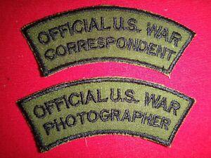 2 Vietnam War Patches: OFFICIAL US WAR CORRESPONDENT + OFFICIAL WAR PHOTOGRAPHER