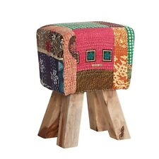 Multi Colour Fabric Stool With Solid Wood Frame PK34