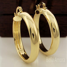 Chunky 9ct Yellow Gold Plated Smooth Round Hoop Creole 35mm Earrings New UK 159