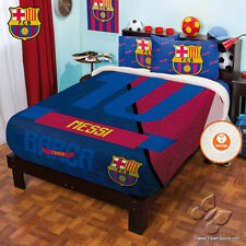 Barcelona FCB Messi 10 Soccer Fleece Decoration Blanket Comforter QUEEN Sheets *