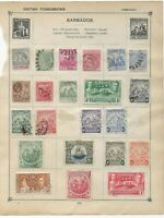 BERMUDA and BARBADOS Stamps on 2 Sides of an Old Stamp Album Page