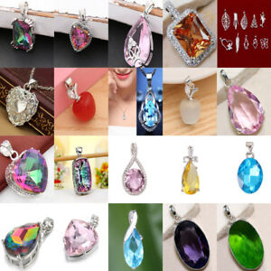 1PC Ladies 925 Silver Gems Sapphire Ruby Apple Crystal Necklace Pendant