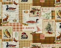NORTH MEMORIES CABIN FABRIC  LOONS  DEER  WILDLIFE PINES 100% COTTON BY THE YARD