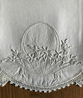 Vintage Cotton Pillowcases - White-on-White Embroidery - Hand Crochet Edging