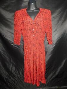 Vintage 80s Carol Anderson 8 S M Red Black Print Shirt Dress 3/4 Sleeve V Neck
