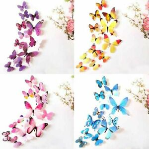 12 x 3D Butterfly Wall Stickers Home Decor Room Decoration Sticker Bedroom Girl