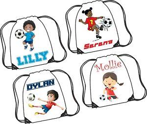 Personalised Football Drawstring Kit Bag PE Bag Girl & Boy designs great gift