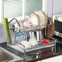 Stainless Dish Cup Dryer Rack Drainer Rack Drip Cutlery Holder Organizer Kitchen