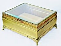Vintage Gold Ormolu Filigree Jewelry Box Casket Prong Set Beveled Glass