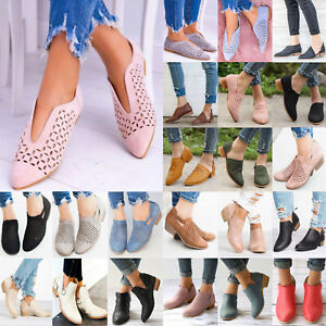 Womens Low Wedge Heels Flats Pumps Pointed Toe Ankle Boots Booties Shoes Size