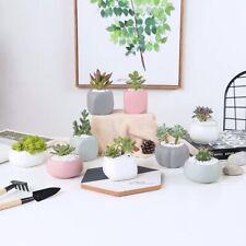 3pc Mini Geometric Succulent Planters Black Grey White Ceramic Plant Pots