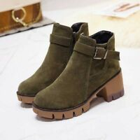 Womens Suede Martin Ankle Short Boots Casual Platform Buckle Party Shoes zipper