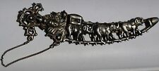 ESTATE STERLING SILVER JAMBIYA PIN w/ 3 ELEPHANTS-27.55gr-925-HINDI / INDIAN