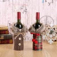 Red Wine Bottle Fur Cover Bags Christmas Dinner Table Decoration Party Supplies