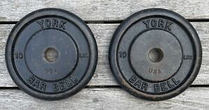 """York Barbell Standard (1"""" hole) Vintage Weight Plates 10LB x2 (20 Lb Total)"""