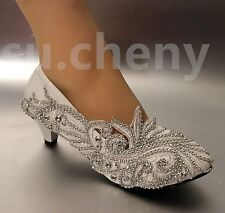"""2"""" heel wedge Lace white ivory crystal Wedding shoes Bridal low heels size 5-12"""
