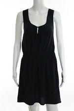 Calypso Saint Barth Blue Silk Sleeveless Keyhole Neck Smocked Shift Dress Size L