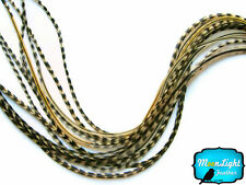 10 Pieces - UNIQUE BADGER Thin Long Grizzly Rooster Hair Extension Feathers