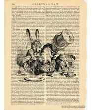 Alice in Wonderland Art Print on Antique Book Page Mad Tea Party 2 Mad Hatter