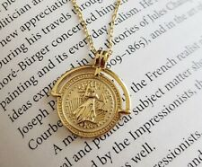 925 Sterling Silver Brave Fighter Gold Coin Pendant Necklace For Women 15-17""