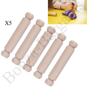 5X MINI WOODEN WOOD CHILDREN'S 19cm ROLLING PINS KIDS BAKING PLAY DOUGH