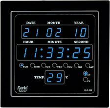 Ajanta Quartz Digital Blue LED Square Wall Clock OLC- 302 (25.4 x 25.4 x 3.5CM)